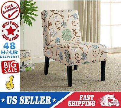 Kitchen Dining Durable Armless Fabric Accent Chair Solid Wood Leg Modern Design