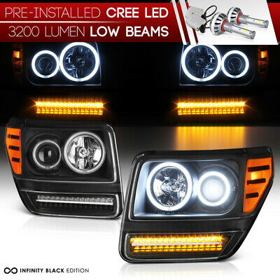 !Pre-Installed LED Low Beam! Dodge Nitro 2007-11 LED DRL Strips Headlights Lamps