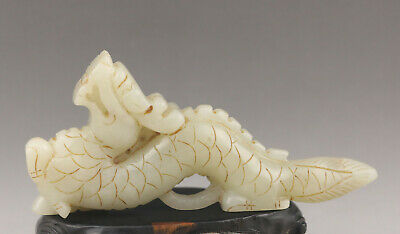 Old Chinese natural hetian white jade hand-carved statue dragon pendant