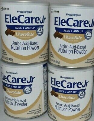 EleCare  Jr,  chocolate 14.1 oz 4 cans.  Hypoallergenic baby formula powder