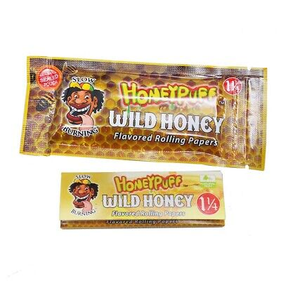 2 Packs 78MM WILD HONEY Flavored Slow Burning Rolling Papers HONEYPUFF 64 Leaves