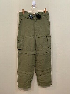 Boy Scouts of America Green Cargo Convertible Pants w Belt Size Youth Medium