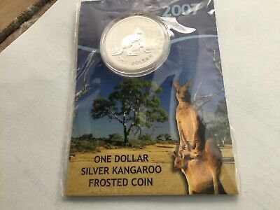 2007 One Dollar 1oz Silver Kangaroo Frosted Coin on card