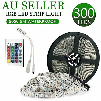 5M 300LED Strip Light 5050 SMD RGB Waterproof 12V strip only for project Xmas AU