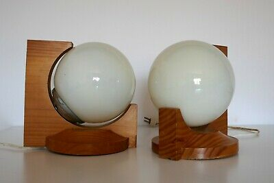 Lámparas o apliques vintage madera 1970s wood wall sconces or table lamps
