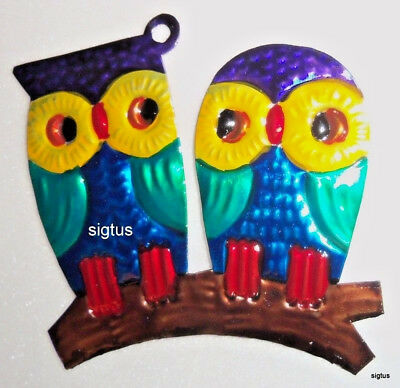 Mexican Hand Painted Tin PAIR OF OWLS Ornament! One of many designs!  SMART!