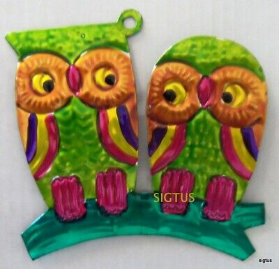 Mexican Hand Painted Tin PAIR OF OWLS Ornament! NEW COLOR! Same 'ole Wise Guys!