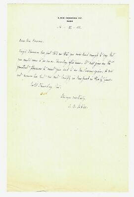 Alice B TOKLAS / Autograph letter signed B Toklas to Geoffrey Parsons of The New