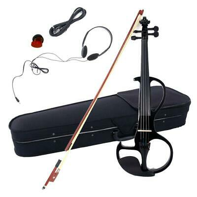 4 String 4/4 Electric Violin Set with Case+Bow+Cable+Headphone Black