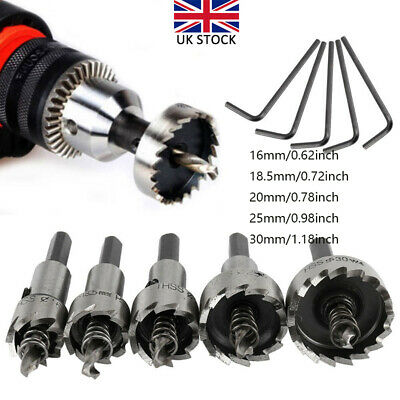 16-30mm HSS Hole Saw High Speed Steel Tooth Drill Bit Metal Wood Cutter 5in1 Set