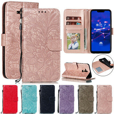 For Huawei Mate 20/Y9 Y7 Y6 Y5 Lace Flower Wallet Case Flip Stand Leather Cover