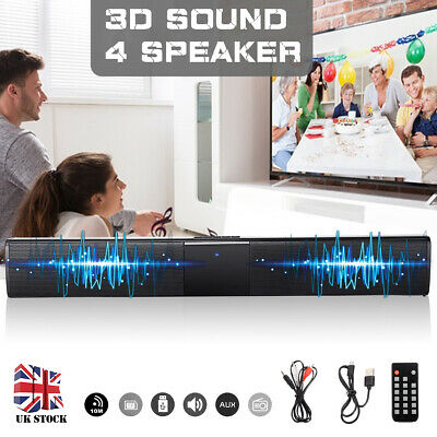 Wireless Bluetooth TV Soundbar 3D Sound 4 Speaker Bar Subwoofer RCA w/ Remote