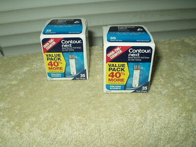bayer contour next test strips 2 sealed boxes of 35 each 70 total exp 11/30/2020