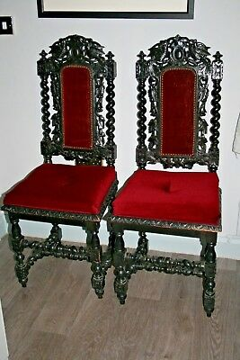 Pair Victorian Antique Hand Carved Wood Chairs c1880 Gothic Carving Statement