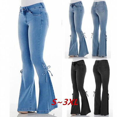 UK Womens Skinny Flare Denim Jeans Ladies High Waisted Bootcut Stretchy Trousers