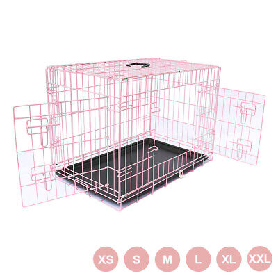 Dog Puppy Cage Pet Animal Training Carrier Crate Small Medium Large XL XXL Pink