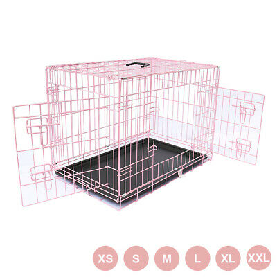 Pink Dog Puppy Metal Training Cage Folding Crate Animal Carrier With Tray S-XXL