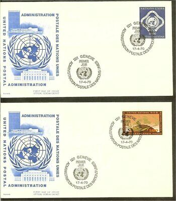 [JS093_02] 1970 - VN/UNO Geneva FDC Mi. 9-10 (2) - Definitive series
