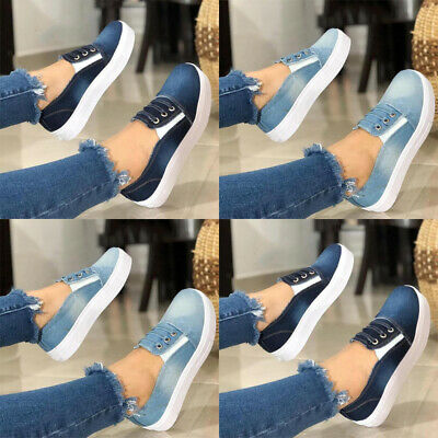 Womens Slip On Denim Pumps Trainers Loafers Ladies Summer Flat Comfy Shoes Sizes