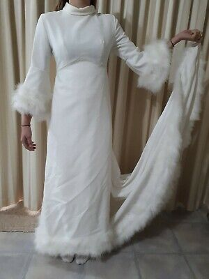 Vintage 70's Winter Wedding Dress, Veil  + going away outfit