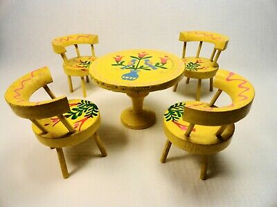 Dollhouse miniature vintage Fomerz Dining Room hand painted Table & 4 Chairs