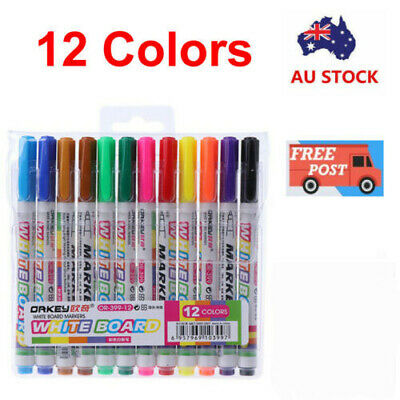12 Colors Set Whiteboard Markers White Board Erasable Marker Pens Eraser Rubber
