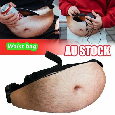 Dad Dad Bod Waist Belt Bum Bag Leather Hairy Beer Fat Belly Fanny Pack Pouch MN