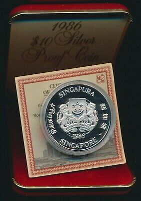 Singapore 1986 $10 Silver Proof Lunar Year of the Tiger RARE