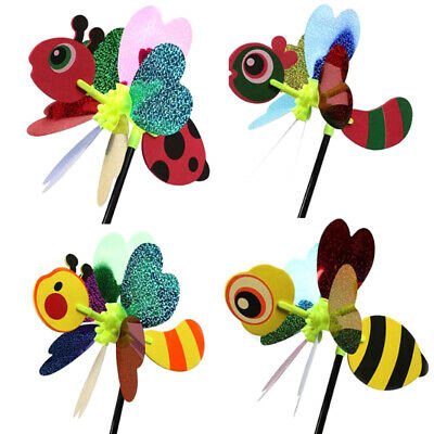 3D Animal Bee Ladybug Windmill Wind Spinner Yard Garden Outdoor Decor Toys  ^S