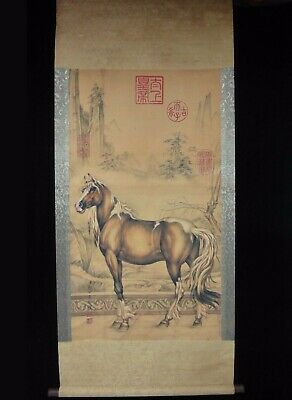 """Very Large Old Chinese Scroll Painting A Brown Horse """"LangShiNing"""" Marks"""