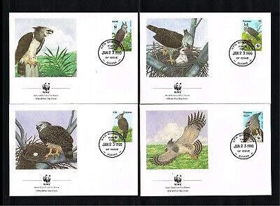 [P11_028] 1990 - Guyana FDC Mi. 3077-3080 - Fauna & Animals - Birds - Happy Eagl