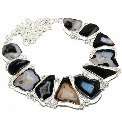 "Botswana Slice Agate Druzy Gemstone Silver Fashion Jewelry Necklace 18"" SN1475"