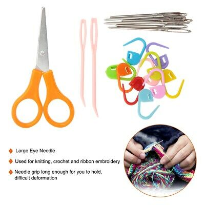 Set Crochet Hooks Kit Yarn Knitting 9 Needles Sewing Tools Grip Handcraft Tools