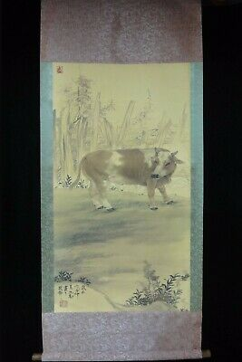 Very Vivid Rare Long Vintage Chinese Scroll Hand Painting Cattle Marks
