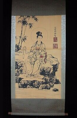 """Very Large Old Chinese Scroll Hand Painting GuanYin Buddha """"DingYunPeng"""" Marks"""