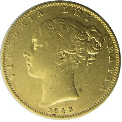 GREAT BRITAIN - Victoria Young Head' Shield Back Gold Sovereign - 1843 - aVF