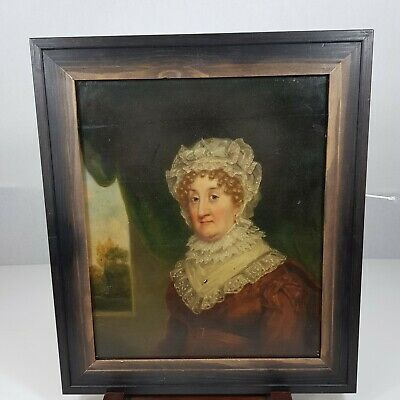 Antique Early 19th Century Oil Painting On Panel Portrait A Lady Isabella Strand