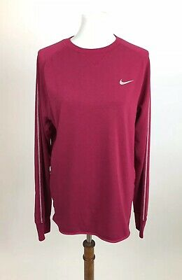 NIKE Mens Dri-Fit Sprint Crew Running Shirt Coral Orange