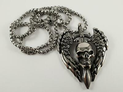 Stainless Steel Skull on sword with wings biker pendant and necklace 60cm chain