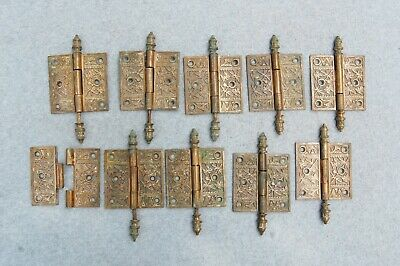 """Solid Brass Door Hinge Lot 10 Art Nouveau Chinoisery Butterfly 3 1/2"""" Antique"""