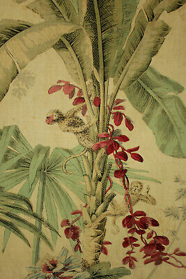 Antique Jungle Fabric with Monkeys aged and mended patina 28 by 33.5 inches