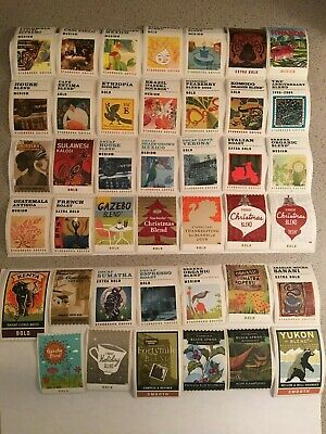 Lot of 41 Starbucks Coffee Stamp Sticker Holiday White Border Rare Discontinued