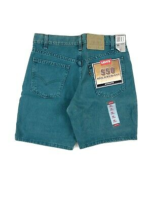 Vintage 90's Levis 550 Relaxed Fit Shorts Men's 30 Green Denim Made USA NWT