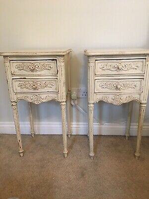 2 Cream Bedside Tables French Style