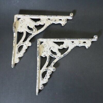 "Pair of Vintage Antique Shabby Chic Cast Iron Shelf Brackets with Lip 8"" x 7"""