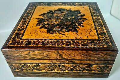 Vintage Tunbridge Ware Jewellery/Sewing Box ? Very Nice Inlaid Marquetry In Seve