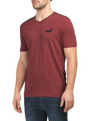 New Puma Authentic Elevated Essential Men's Red V Neck T-Shirt Size M 90072