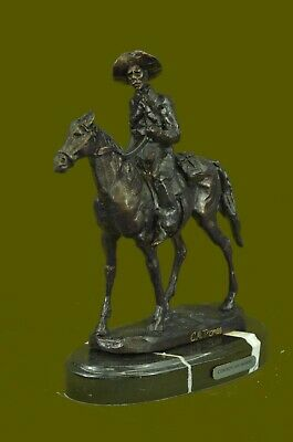 OLD WEST COWBOY WITH HORSE BRONZE SCULPTURE WESTERN ART Thomas FIGURINE DECOR NR