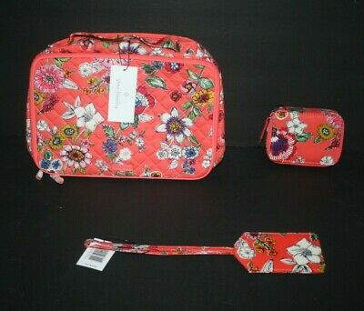 Vera Bradley Iconic  Large Blush and Brush Case,& Pill Case NWT Coral Floral