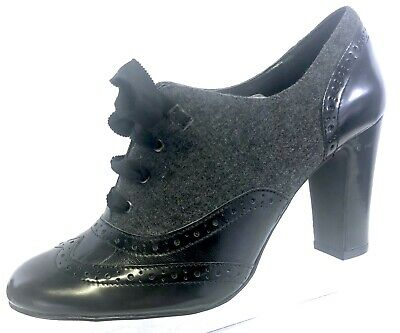 Tahari Womens Black Patent Leather Gray Wool Lace Up Pumps Heels Shoes 7 B